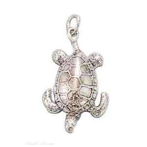 Sterling Silver Deep Sea Turtle Charm Arts, Crafts