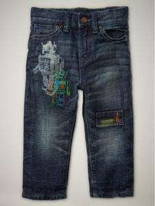 NWT Baby Gap Boys Playdate Straight Jeans (Embroidered Medium Wash