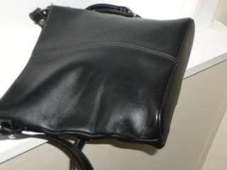 ETIENNE AIGNER Soft Black Leather Cross Body Messenger Bag Purse