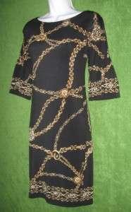 EVAN PICONE Black Gold Chain 3/4 RuFLSlv Shift Casual Work Dress 8