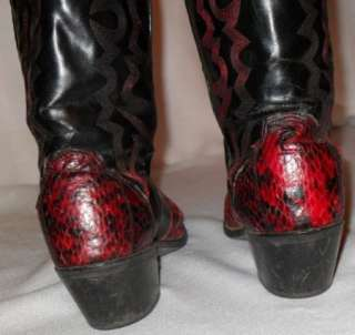 ROGERS Red & Black SNAKESKIN Western Cowboy BOOTS USA Made 8M