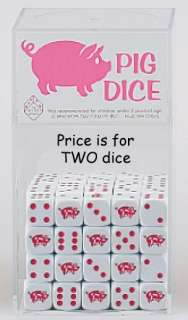 Pig Dice, 16 mm, Really Cute, Pink & White, Nice