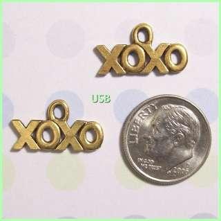 XOXO HUGS & KISSES 22K GP Pewter Charms #418 1