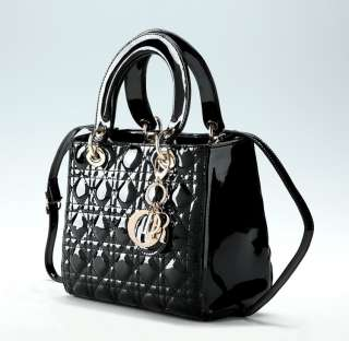 New Real Lambskin Leather Gossip Girl Quilted Lady Patent Handbag