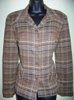 SAG HARBOR womens 10P petite lined plaid blazer jacket