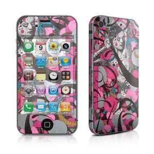 Lady In Pink Design Protective Skin Decal Sticker for Apple iPhone 4