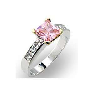 Sterling Silver Pink Ice / Rose CZ Ring