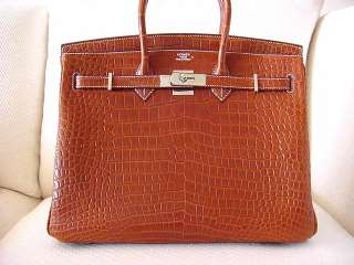 HERMES BIRKIN Bag 35 MATTE FAUVE Porosus Crocodile bag