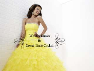 Brilliant Yellow Ball Wedding Bridal Gown Quinceanera Prom Party
