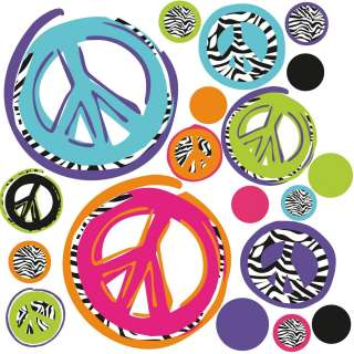 ZEBRA PEACE SIGNS 26 BiG Wall Stickers Room Decor Decals Black Purple