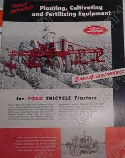 Ford Tractor Planting Cultivating Equipment Brochure Tricycle Tractors