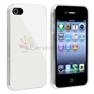 Clear Side Hard Case Cover+Anti Glare LCD Film Guard for iPhone 4 G 4S