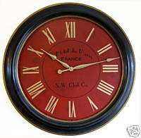Large Wall Clock 30 Antique Framed big red Paris Hotel