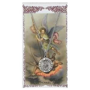 Pewter St. Michael Medal & 24 Chain, Prayer Card Set