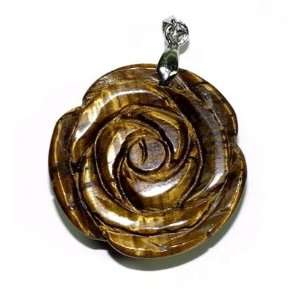 Rose Carved Tiger Eye Gemstone Pendant with Bale