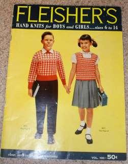 1956 Knit Patterns Fleishers Boys Girls Kids sz. 6   14