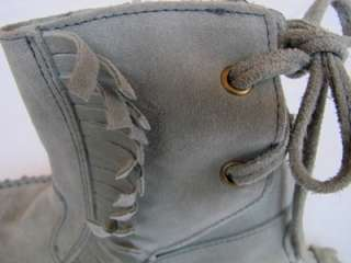 Womens JCrew Sienna Fringed Gray Suede Moccasin Boots 6