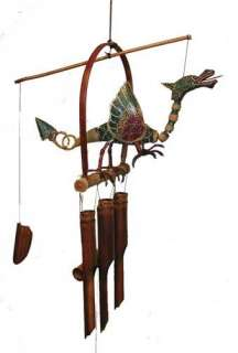 Wind Chime Bamboo Dragon Flame Bird Carved Wood Gift