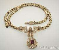 18K YELLOW GOLD DIAMONDS RUBY NECKLACE 2.50 CARATS