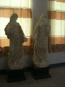 GREAT HAND CARVED FIGURAL MARBLE AND ONYX STATUES OS2