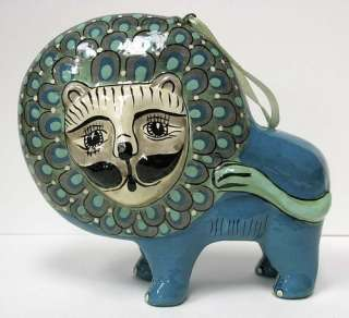Vintage Mexican Folk Art Pottery Lion Cat Figurine Ornament Tonala