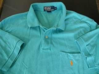 vintage RALPH LAUREN POLO TURQUOISE BLUE ORANGE PONY shirt L
