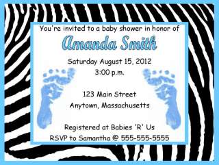Boy Blue Feet Zebra Print Baby Shower Invitations