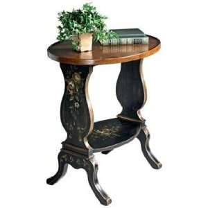 Regal Black Hand Painted Wood Accent Table