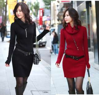 Womens Slim Style Knitted Sweater Long Sleeve Dress 4 Colors