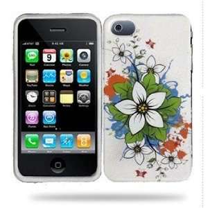 Apple Iphone 4 TPU Design Cover Hard Case   White Flowers