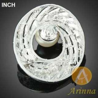 ARINNA clear circle pearl rhinestone style Brooch Pin 18K WGP