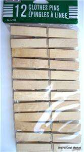 12 Clothes Pins Traditional Wood Spring Old fashion NEW