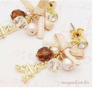Korean Fashion Eiffel Tower with crystal and a bow Earrings
