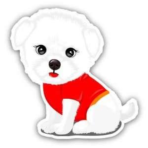 Maltese Puppy Cute Dog Car Bumper Sticker Decal 4.5x4.5