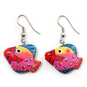 Funky Multicoloured Wood Fish Drop Earrings (Deep Pink, Yellow, Blue