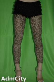 soft touch leopard print leggings footless pantyhose capri pants beige