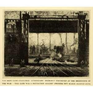 1925 Print Iron Gate Charleroi Pittsburgh Joseph Pennell