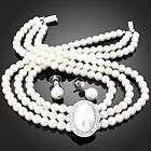 Womens Girls Royal Crystal Pearl Pendant 3 Row Necklace Earrings