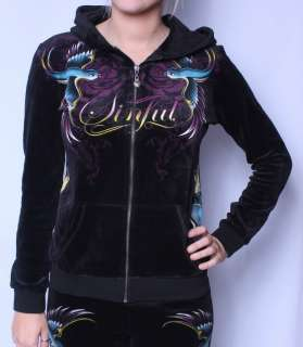 SINFUL BY AFFLICTION VALERIAN VELOUR TRACK ZIP HOODIE SWEATSHIRT S M L
