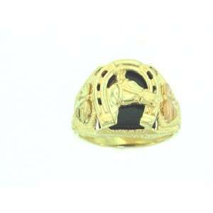 Authentic! 10k Yellow gold Black Hills Gold Mens onyx