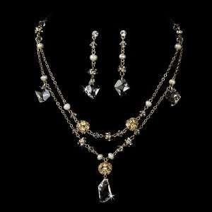Gold Pearl Crystals Necklace Earring Set Jewelry