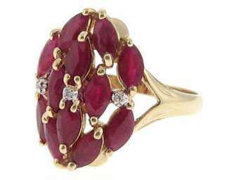 Estate Natural Ruby Diamond Solid 14k Yellow Gold Ring