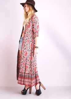 GAUZE Ethnic Floral Paisley Native Hippie JACKET + Maxi DRESS