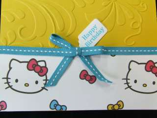 Handmade HAPPY BIRTHDAY Card ~HELLO KITTY~ Stampin Up Sizzix Embossed