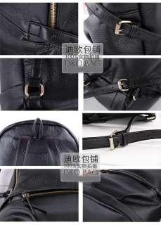 Korea Girl School Leather Backpack Casual Bags Black xg