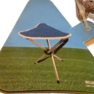 Blue Folding Golf Stool Fold up Chair in Portable Carrying