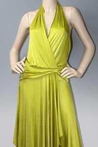 NEW BCBG MAXAZRIA LEMONGRASS IVY HALTER JERSEY MAXI GOWN DRESS XXS 0 $