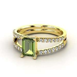 Samantha Ring, Emerald Cut Green Tourmaline 14K Yellow Gold Ring with