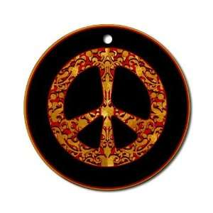 Red and Black Peace Sign Ornament
