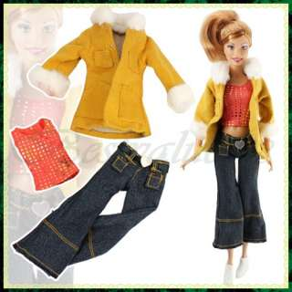 Handmade Clothes Coat Vest Trousers Shoes For Barbie Doll Toy Xmas